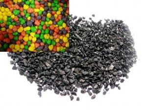 Crumb rubber versus Nerds (in the upper left).