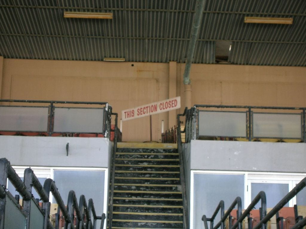 Parts of the ACRC grandstand are closed.  Photo by Teresa Genaro.