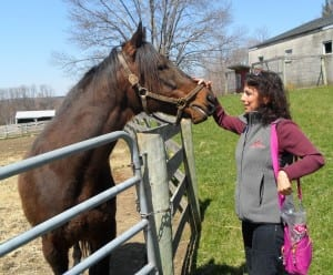 Subject and author -- Tie Break and Teresa Genaro -- share a moment.