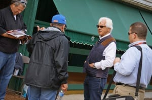 Bob Baffert mulls it over Saturday morning.  Photo by Vas.