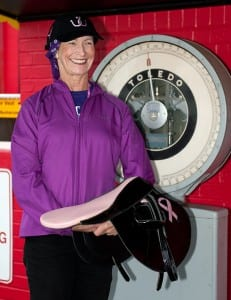Barbara Jo Rubin, the first female to ride the winner in a parimutuel race, will ride Keep Momma Happy in the Lady Legends for the Cure race on Friday at Pimlico.  Photo by Jim McCue, Maryland Jockey Club.