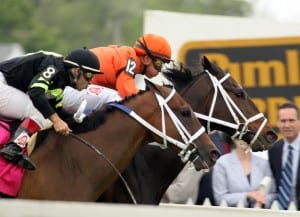 Heros Reward inches clear to win the 2008 Turf Sprint at Pimlico.  This photo, and feature image, by Laurie Asseo.