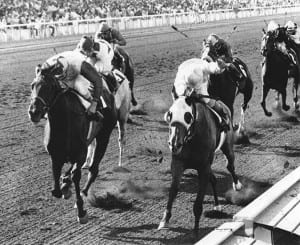 Twixt, on the outside, gets up to win the Milady at Hollywood Park.  Photo from Maryland Thoroughbred Hall of Fame.