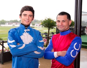 Sheldon Russell and Xavier Perez will vie for leading rider title up to the final day.  Photo by Jim McCue, Maryland Jockey Club.