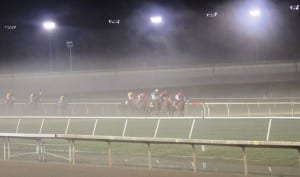 "Everybody was in a fog on Colonial's opening night, but it might be ""Clare Skies Ahead"" for Turf Cup night.  Photo by Nick Hahn."