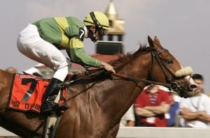 Mr. O'Brien cruises home in the 2004 running of the G2 Dixie.  Photo Maryland Jockey Club.