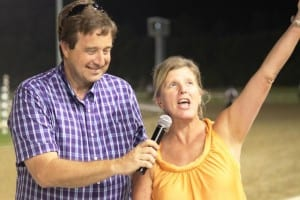 Trainer Stephanie Nixon exults after Boltin' Out's score in the Punch Line.