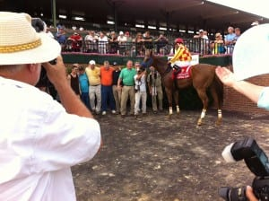 Winning Image and friends.  Owner Martin Scafidi is in green, trainer Michael Aro in orange.