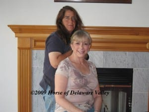 """Gayle Gerth, seated, and Dana Point Farm's general manager Maria Vorhauer.  Photo courtesy of """"The Horse of the Delaware Valley."""""""
