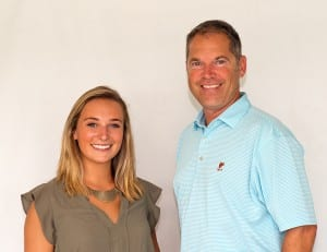 Linemaker Keith Feustle, pictured here with on-air analyst Gabby Gaudet.  Photo by Jim McCue, Maryland Jockey Club.