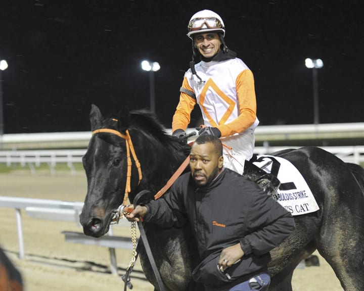 Julian Pimentel aboard Ben's Cat after the 2013 Fabulous Strike.  Photo by B & D Photography.