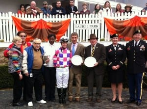 Happy winner's circle for Eighttofasttocatch after the Jennings.  Owner Arnold Heft is third from left, trainer Tim Keefe (holding plate) is next to jockey Forest Boyce.