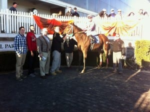 Happy winner's circle after the Safely Kept.  Trainer Robin Graham is at far right, owner Frank Wright third from left.