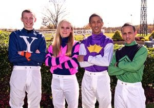Trevor McCarthy, Chelsey Keiser, Victor Carrasco, and Jevian Toledo.  Photo by Jim McCue, Maryland Jockey Club.