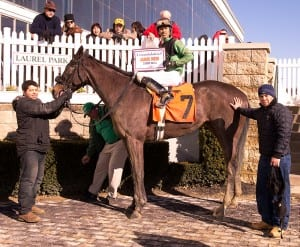Victory number 2000 for Jamie Ness.  Photo by Jim McCue, Maryland Jockey Club.