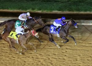Game On Dude holds off Ron the Greek and Clubhouse Ride to win the 2013 Charles Town Classic.  Photo by Coady Photography.