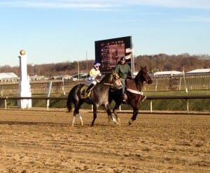 Joint Custody warms up prior to the Maryland Juvenile Championship.  Photo by The Racing Biz.