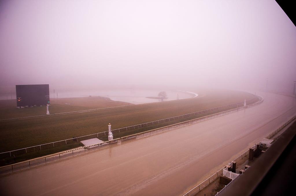 Laurel in the fog. Photo by Jim McCue, Maryland Jockey Club.