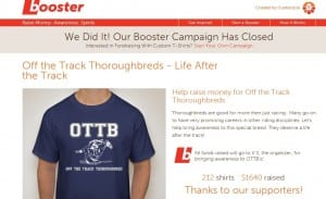 New OTTB Booster page explicitly states that the proceeds go back to the organizer and not to any charitable organization.
