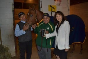 Keturah Obed-Letts, the Breeders Classic trophy, groom Porfello Ramerez, helper Santiago Bernabe -- and, of course, Henny's Princess.