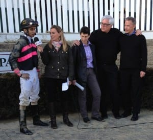 Rider Julian Pimentel chats with Gabby Gaudet after the Private Terms.  Assistant trainer Sam Randazzo is to Gaudet's left, with co-owners Steven Brandt and Rick Boylan next to her.  Photo by The Racing Biz.