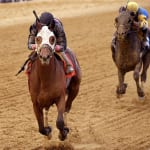 Kid Cruz rallies -- from maiden claimer perhaps to the Preakness -- to win the Federico Tesio Stakes.  Photo by Jim McCue, Maryland Jockey Club.