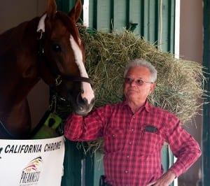 Trainer Art Sherman with California Chrome. Photo by Jerry Dzierwinski, Maryland Jockey Club.