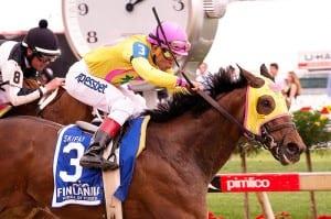 Lion DNA wins the Skipat. Photo by Jim McCue, Maryland Jockey Club.