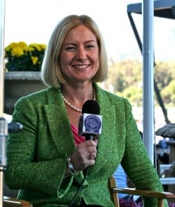 Caton Bredar, here at last fall's Breeders' Cup, has been the face of HRTV at Pimlico in recent weeks.