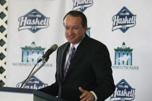 Joe Asher, William Hill U.S. CEO, speaks at Monmouth's opening press conference.   By Bill Denver/EQUI-PHOTO
