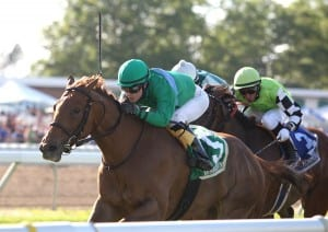 Medea, Forest Boyce up, wins the Eatontown Stakes at Monmouth Park.  Photo By Bill Denver/EQUI-PHOTO.