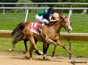 Gamay Noir, with Daniel Centeno up, takes the Grade 3 Obeah at Delaware Park. Photo by HoofprintsInc.com.