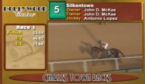 Screencap of Silkentown returning victorious for trainer John McKee.