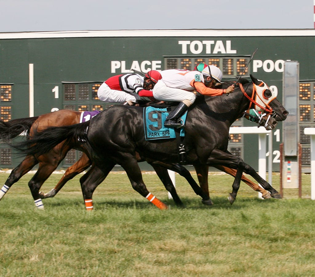 Ben's Cat gets up late to win the Parx Dash.  Photo By Barbara Weidl / EQUI-PHOTO
