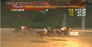 In this screencap, Oscar Flores and Imperial Force hold on to give the rider 1,000 career victories.