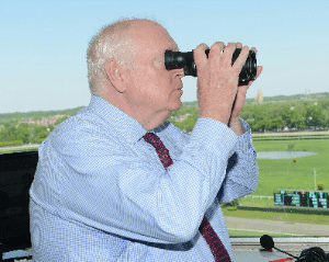 Tom Durkin's eagle eye has been a great help in calling some top races.  Photo by NYRA.