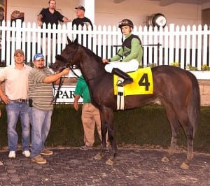 Michael Ritvo and win number one at Laurel Park. Photo by Jim McCue, Maryland Jockey Club.
