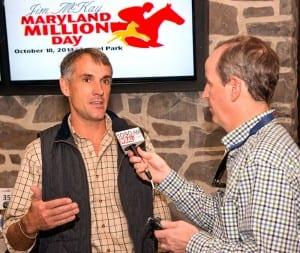 Tim Keefe speaks with WBAL Radio's Scott Wykoff at the Maryland Million draw. Photo by Jim McCue, Maryland Jockey Club.