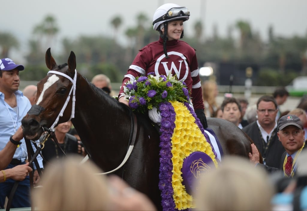 Rosie Napravnik, aboard Untapable, smiles after what is, for now, the final win of her career, in the Breeders' Cup Distaff. Photo by © Breeders' Cup/Weasie Gaines 2014