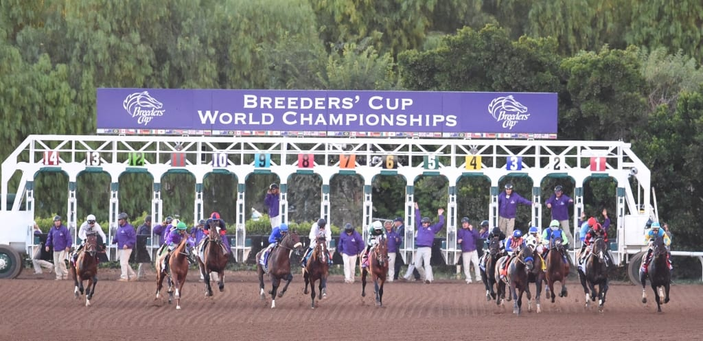 Bayern (star-spangled silks) scoots towards the rail.  Photo by © Breeders' Cup/Gary Mook 2014