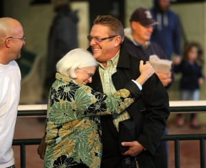 Owner Pat Chapman embraces Trainer John Servis (R) after her homebred Nasa won the $100,000 Pennsylvania Nursery Stakes. Photo By Bill Denver/EQUI-PHOTO.