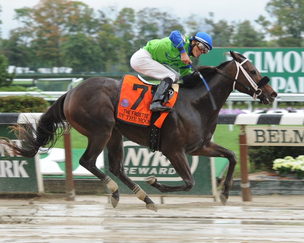 By the Moon upset the Grade 1 Frizette in October. Photo by NYRA?Nicole Di Giovanni.