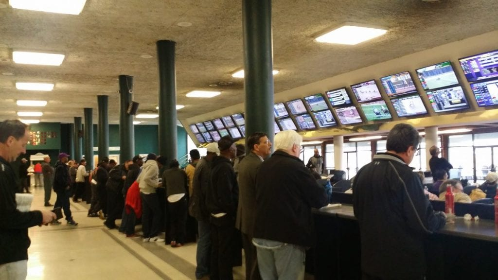 Fans enjoy the new TVs and modified clubhouse layout at Laurel. Photo courtesy of the Maryland Jockey Club.