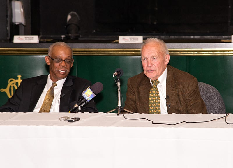 King Leatherbury (right) and Kenneth Taylor, co-owner of Xtra Heat, hold court on Monday at Pimlico. Photo by Jim McCue, Maryland Jockey Club.