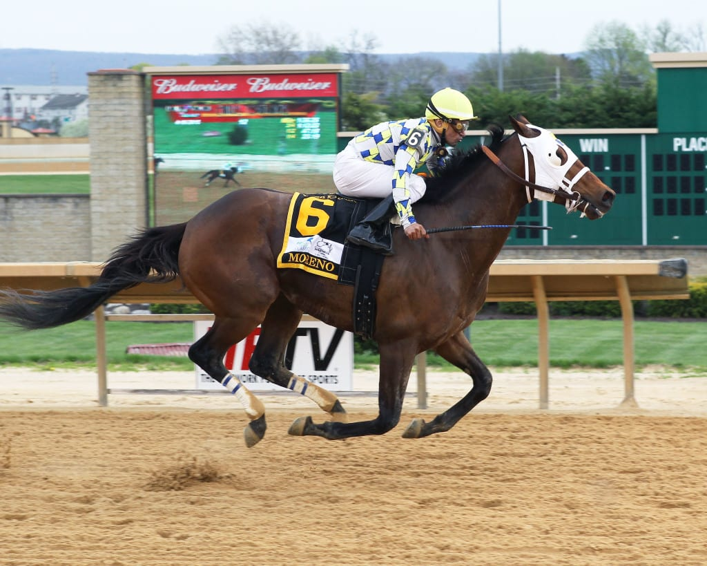 Moreno speeds home to win the Charles Town Classic. Photo courtesy of Hollywood Casino at Charles Town Races.