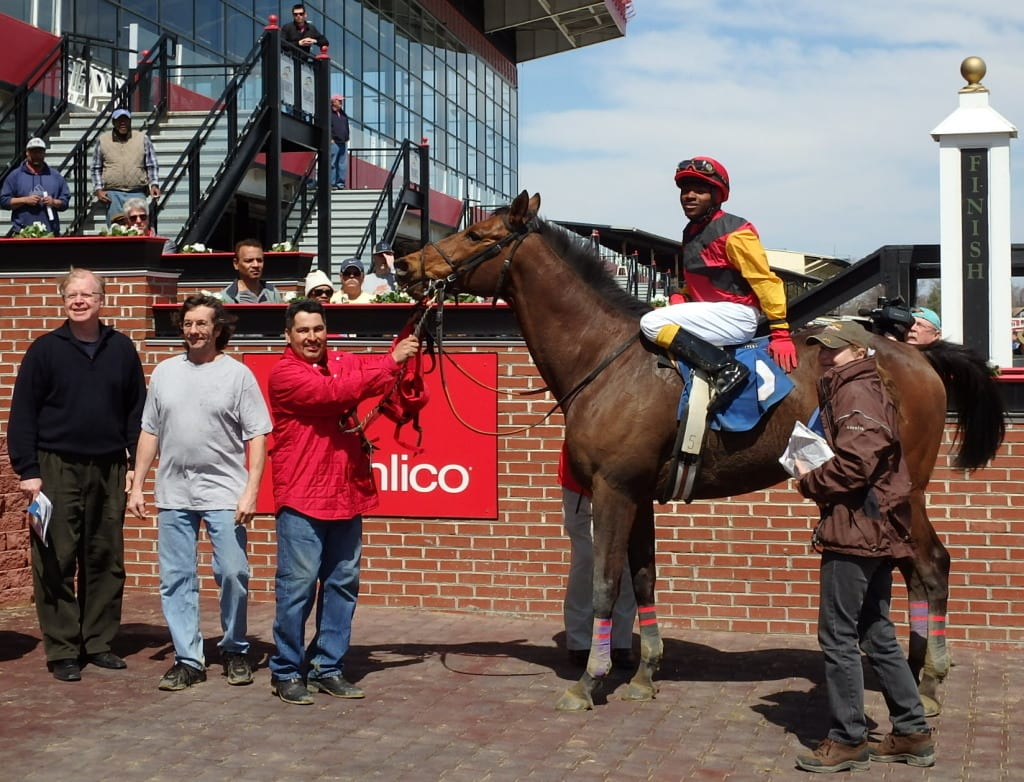 Gold Hill and Darius Thorpe won the first race of the Pimilico sprint meeting. Photo by The Racing Biz.