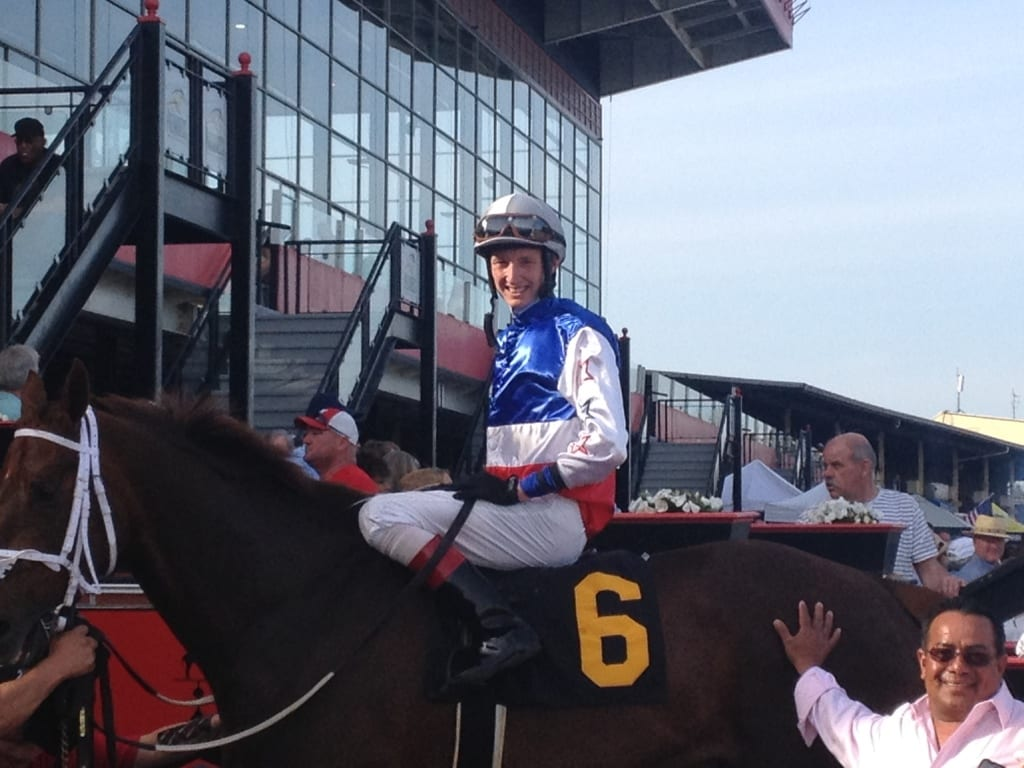 Trevor McCarthy all smiles after the Tesio. Photo by The Racing Biz.