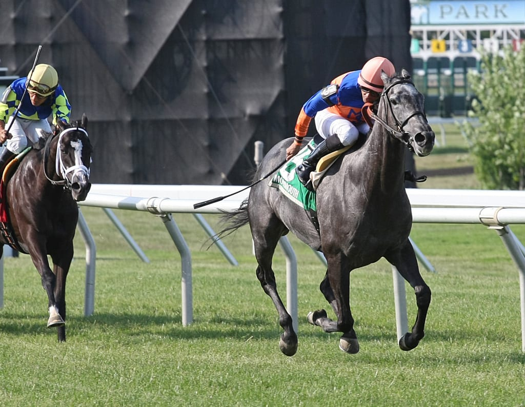 Kenzadargent took Monday's Miss Liberty Stakes at Monmouth Park. Photo by Ryan Denver/EQUI-PHOTO.