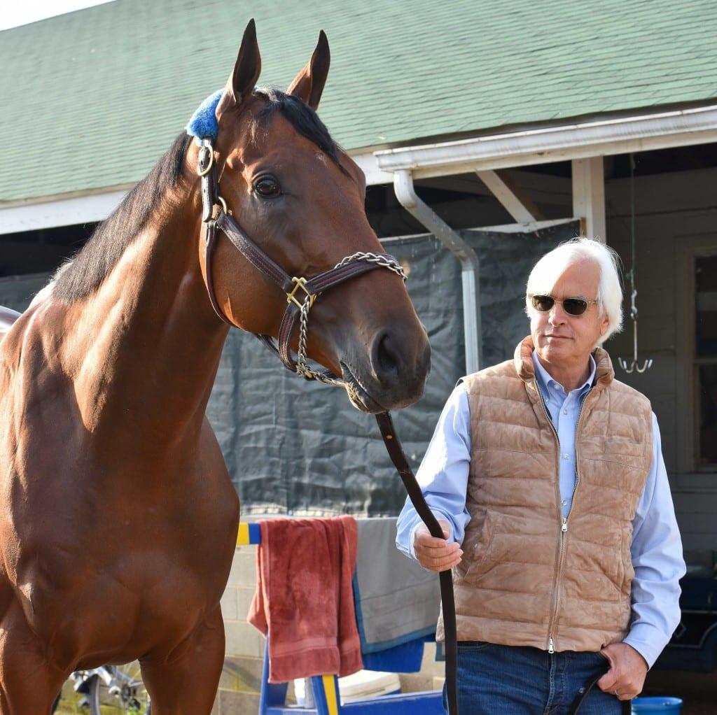 Trainer Bob Baffert with Kentucky Derby winner American Pharoah. Photo by Mike Kane.