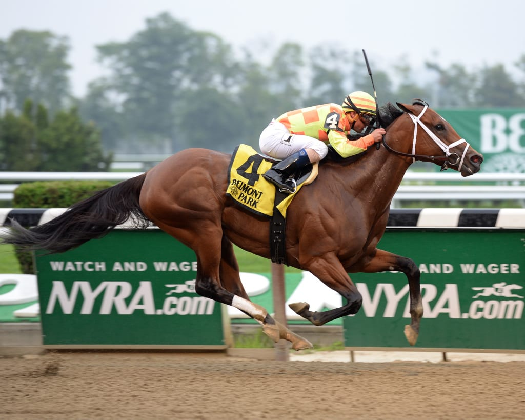 Dame Dorothy proved best in the G3 Bed o' Roses at Belmont Park. Photo by NYRA